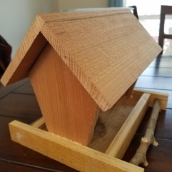 Cedar and crape myrtle bird feeder (Olson loves to watch the birds eat from this house on the deck)