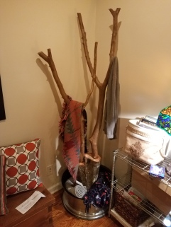 Crape Myrtle, Oak and Escalade Wheel fashioned into a coat rack