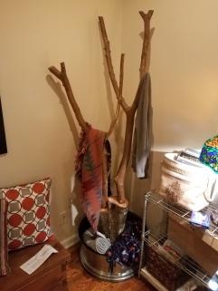 Crape Myrtle, Oak and Escalade Wheel fashioned into a coat rack