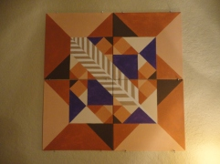 Mountain Quilt Original Design (acrylic on four small canvases