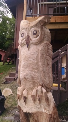 Great Horned Owl Totem carved out of a dead Elm on Spiritwood Lake (2014)